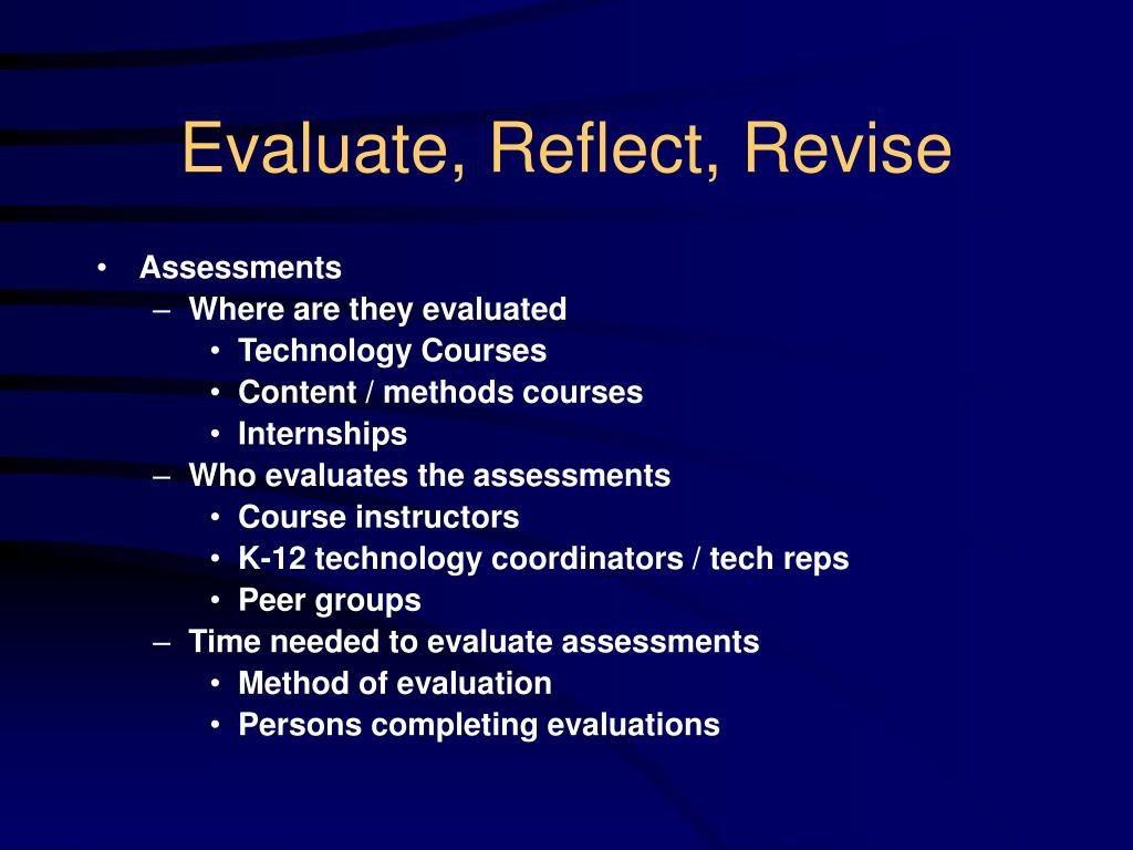 Evaluate, Reflect, Revise