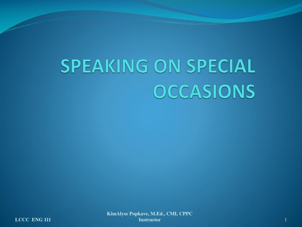 speaking on special occasions l.