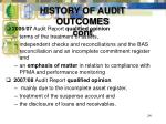 history of audit outcomes cont