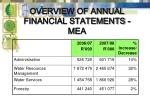 overview of annual financial statements mea