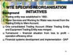 wte specific reorganisation initiatives38