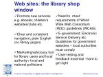 web sites the library shop window