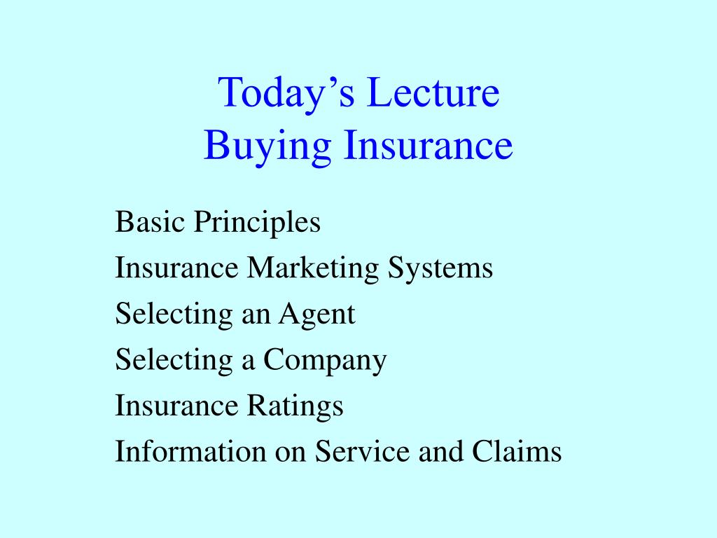 today s lecture buying insurance l.