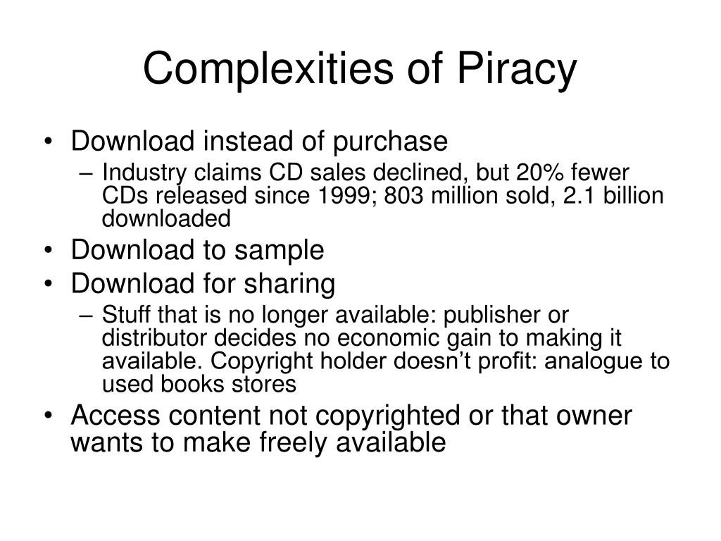 Complexities of Piracy