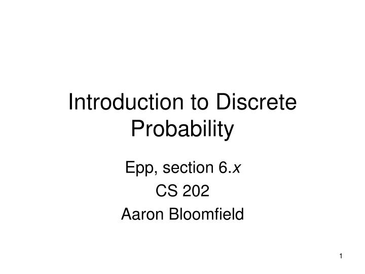 introduction to discrete probability n.