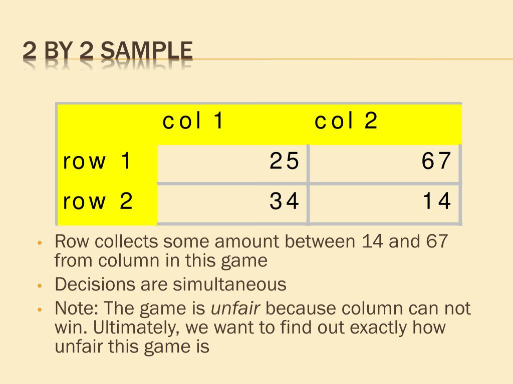 Row collects some amount between 14 and 67 from column in this game