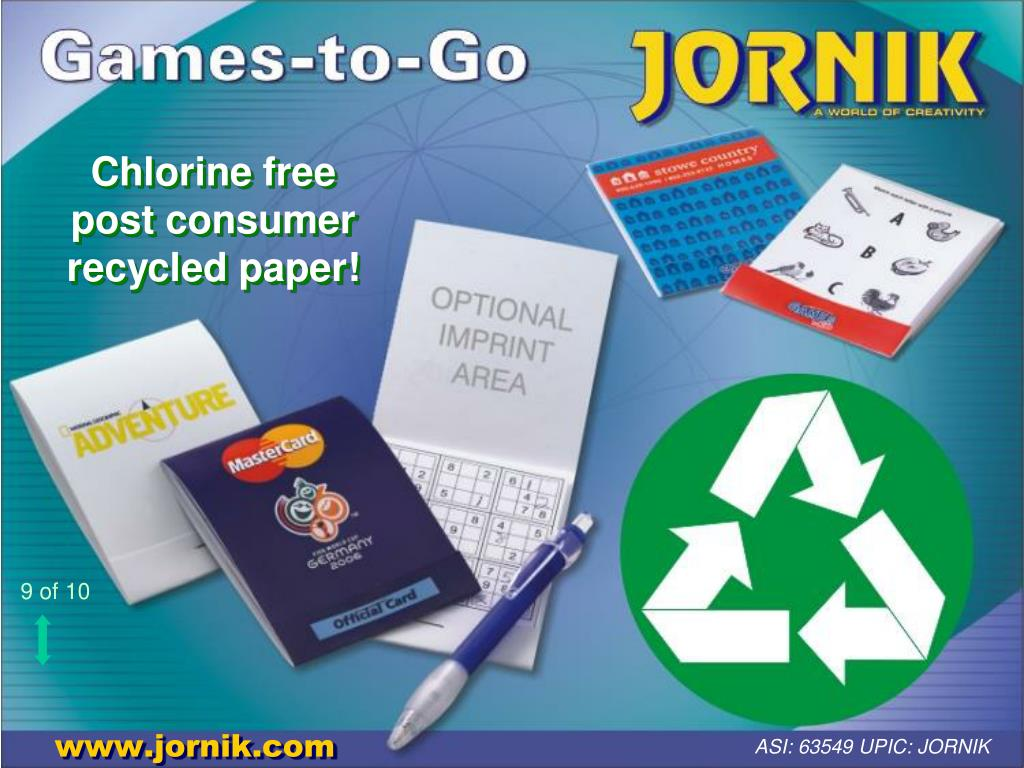 Chlorine free post consumer recycled paper!