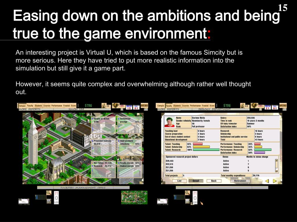 Easing down on the ambitions and being true to the game environment
