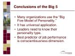 conclusions of the big 5