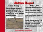 matthew shepard laramie wyoming october 7 1998