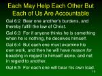 each may help each other but each of us are accountable