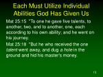 each must utilize individual abilities god has given us