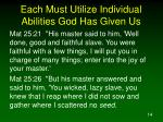 each must utilize individual abilities god has given us14