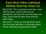 each must utilize individual abilities god has given us16