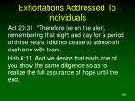 exhortations addressed to individuals