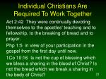 individual christians are required to work together23