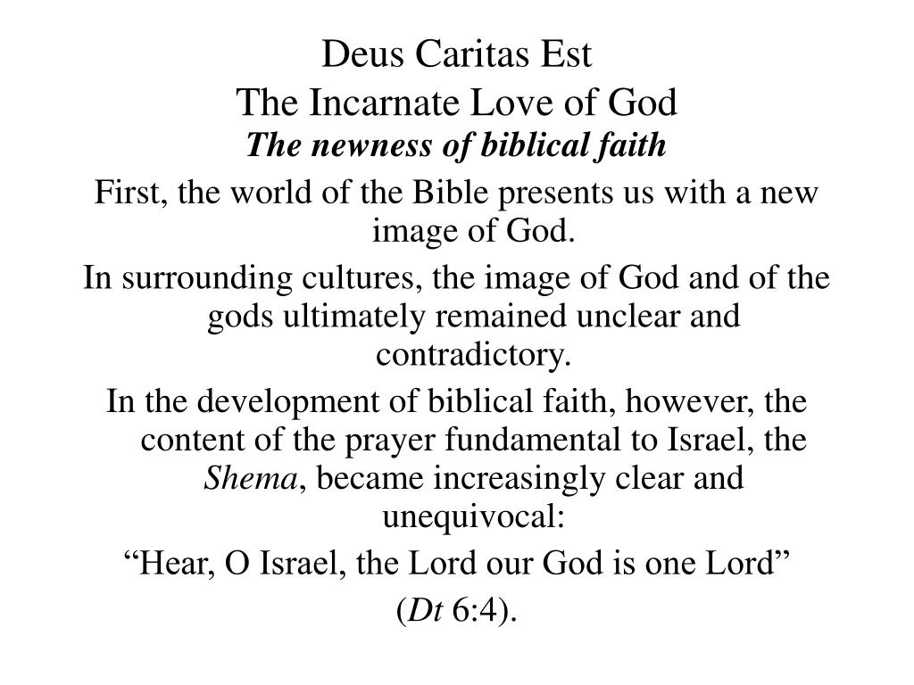 deus caritas est the incarnate love of god l.