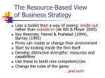 the resource based view of business strategy