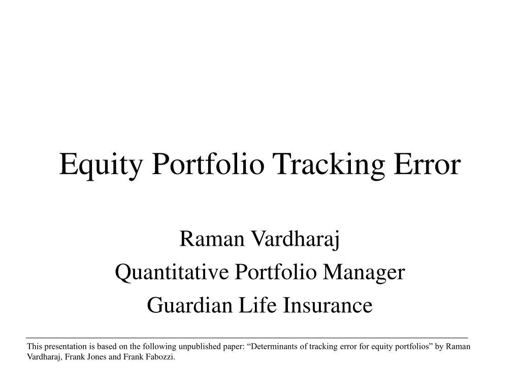 equity portfolio tracking error l.