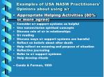 examples of usa nasw practitioners opinions about using s r