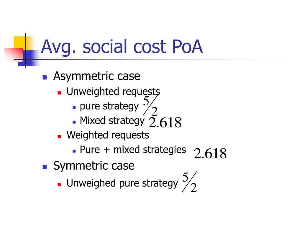Avg. social cost PoA