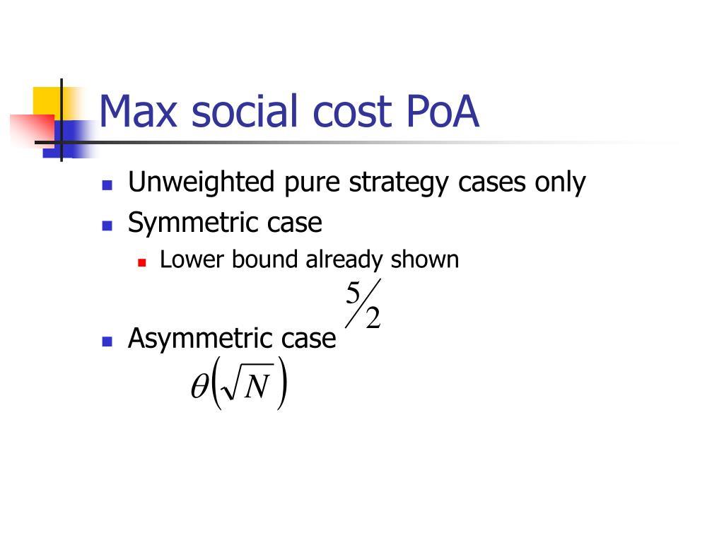 Max social cost PoA
