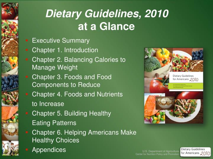 dietary guidelines 2010 at a glance n.