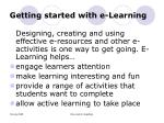 getting started with e learning
