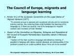 the council of europe migrants and language learning