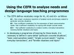 using the cefr to analyse needs and design language teaching programmes19