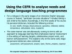using the cefr to analyse needs and design language teaching programmes20