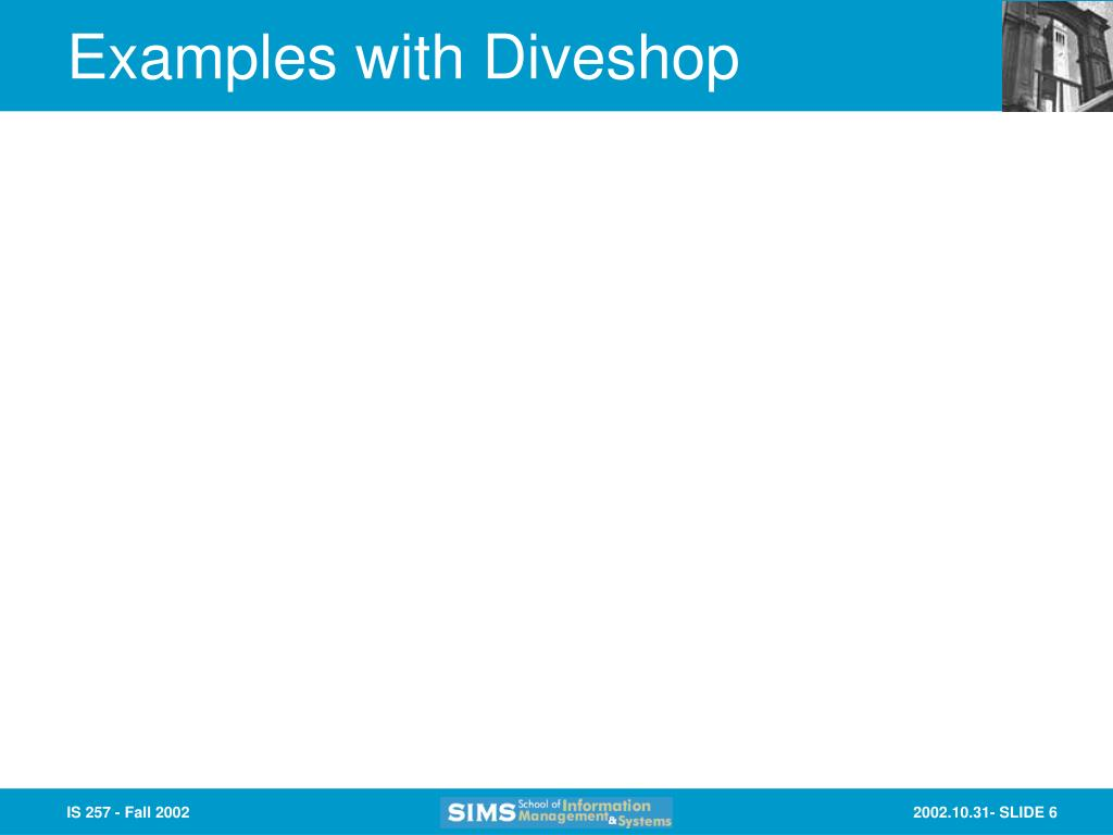 Examples with Diveshop