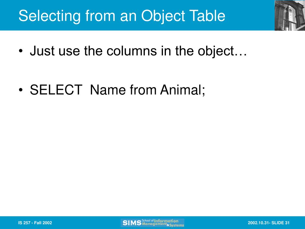 Selecting from an Object Table