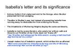 isabella s letter and its significance
