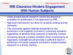 irb clearance hinders engagement with human subjects