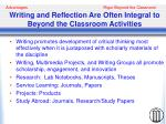 writing and reflection are often integral to beyond the classroom activities