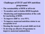 challenges of iycf and mn nutrition programme