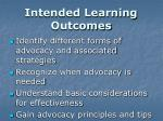 intended learning outcomes