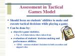 assessment in tactical games model