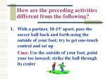 how are the preceding activities different from the following