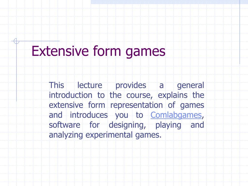 extensive form games l.