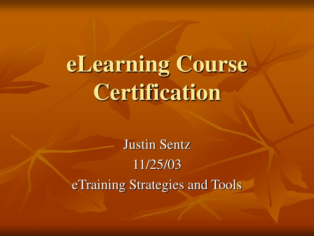 elearning course certification l.