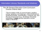 information literacy standards and initiatives