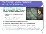 the american library association and information literacy