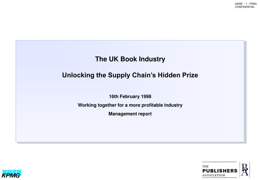 the uk book industry unlocking the supply chain s hidden prize l.
