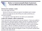 notice to commonwealth bank customers access methods security guidelines cont