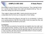 sample a bio 2002 a hasty return