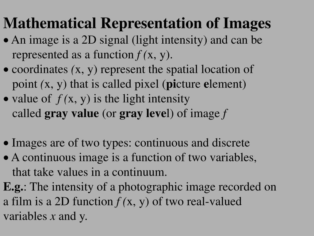 Mathematical Representation of Images