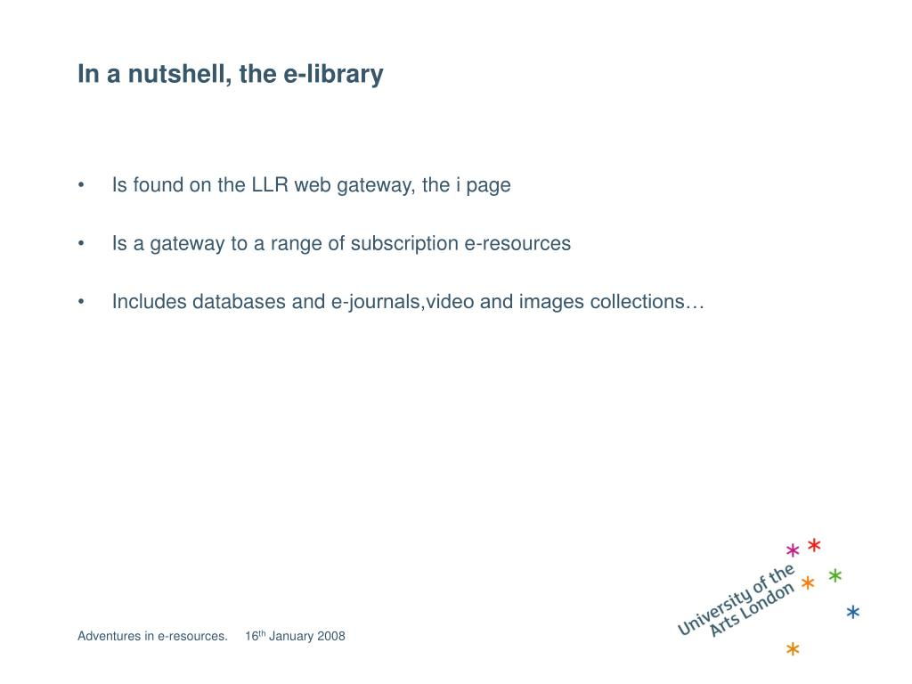 In a nutshell, the e-library