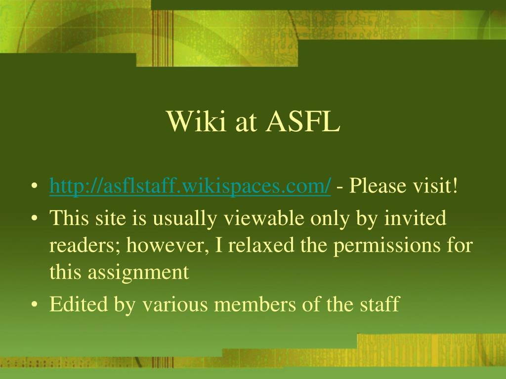 Wiki at ASFL